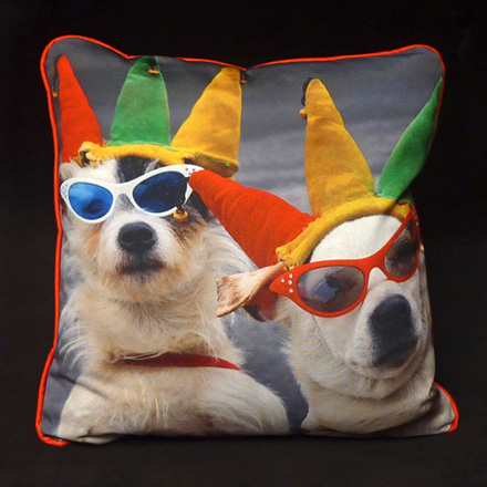Dress Up Dogs Photo Pillow (Upholstery front, Micro-Suede back & cording)