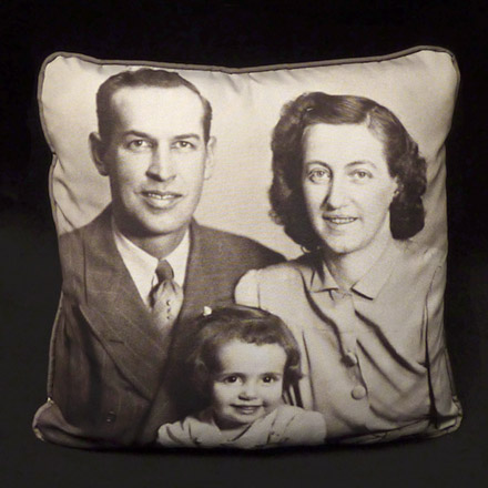 Heirloom Family Photo Pillow (Upholstery front,  Micro-Suede back & cording)