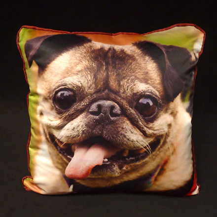Pug Photo Pillow (Sateen front,  Micro-Suede back and cording)