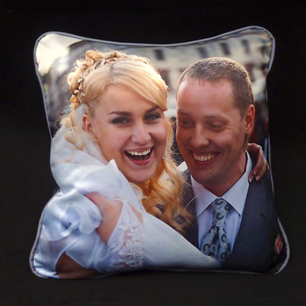 Wedding Photo Pillow (Sateen front,  Micro-suede back and cording)