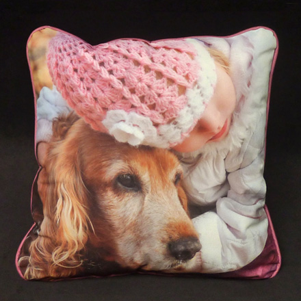 Young Girl Old Dog (Micro-suede front, back and cording)
